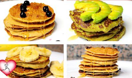 4 PANCAKES Saludables y Faciles   HOTCAKES o tortillas americanas hechas en casa
