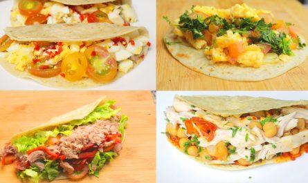 4 TACOS saludables para hacer en casa | Recetas de Burritos fáciles