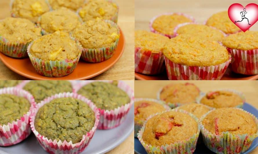 4 RECETAS DE PONQUÉS SALUDABLES | Como hacer muffin fáciles y nutritivos